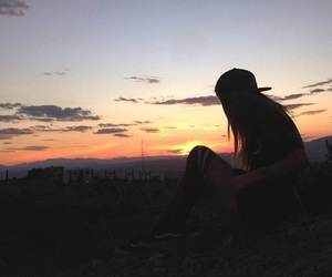 girl, pretty, and sunset image