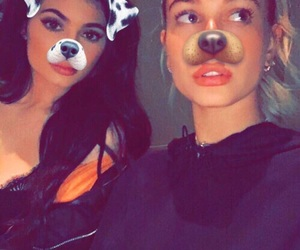kylie jenner, hailey baldwin, and snapchat image