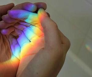 rainbow, hands, and grunge image