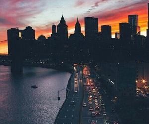 city, sunset, and light image