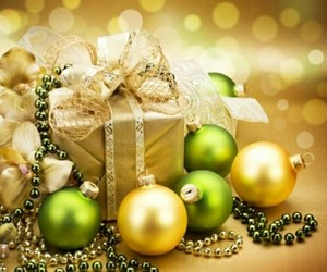 christmas, gold, and ornaments image