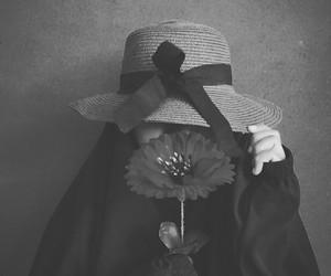 black, flower, and niqab image