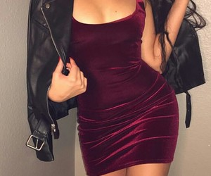 wow, black leather jacket, and velvet dress image