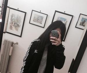 adidas, b&w, and black image