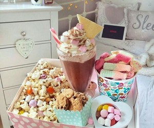 food, bedroom, and pink image