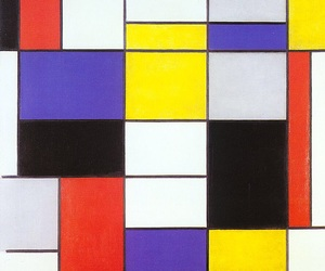 blue, mondrian, and red image