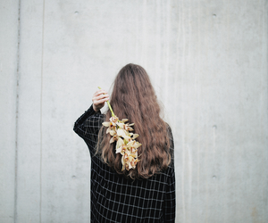 flowers, black, and girl image