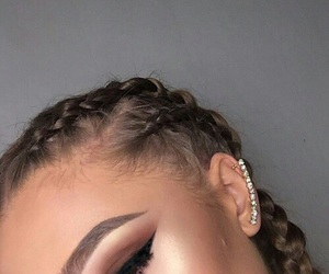 makeup, braid, and eyebrows image