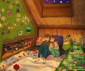 couple, merry christmas, and home atmosphere image