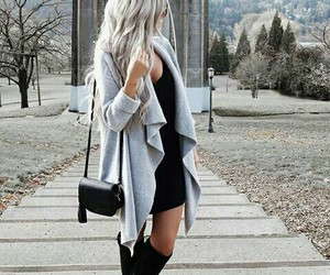 blonde girl, style winter, and dress image