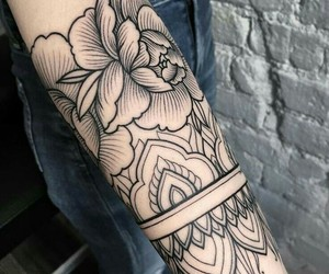 floral, flowers, and ink image