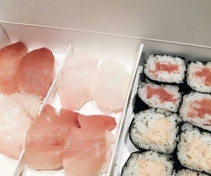 sushi, food, and pink image