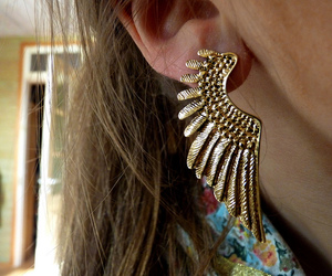 earring, feather, and jewelry image
