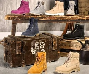 beige, timberland, and black image