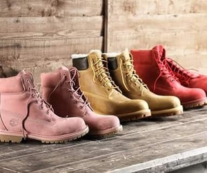 beige, timberland, and pink image