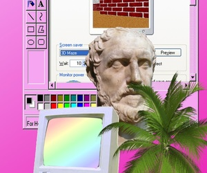aesthetic, vaporwave, and statue image