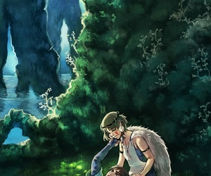 anime, forest, and river image