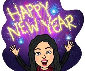 2017, bitmoji, and new year image