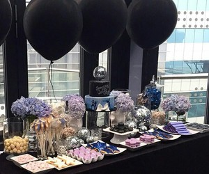 black, black balloons, and cakes image