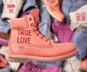 pink, timberland, and true love image