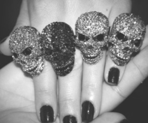 skull, rings, and nails image