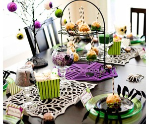 Halloween, table decor, and treats image