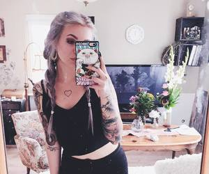 silver hair, Tattoos, and inked girl image
