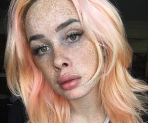pink hair and speckledgal image