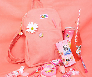 aesthetic, pink, and backpack image