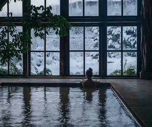 snow, winter, and pool image