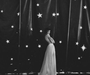 stars, girl, and black and white image