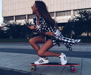 girl, adidas, and skateboard image