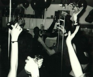 party and black and white image
