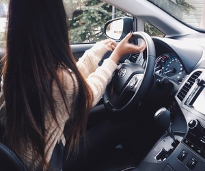 car, girl, and hair image