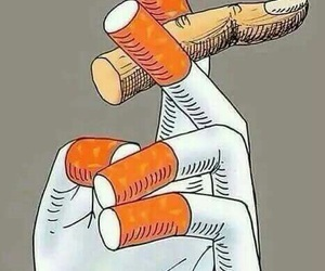 cigarette, smoke, and fingers image