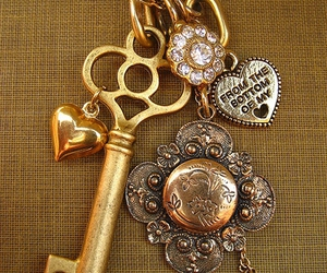 key, gold, and jewelry image