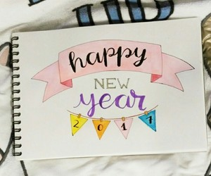 drawing, happy new year, and lettering image