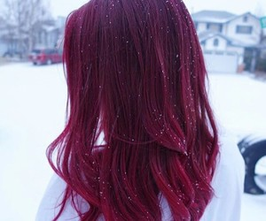hair, red, and snow image