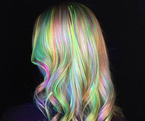 hair, pastel, and rainbow image