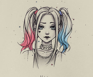 harley quinn, suicide squad, and drawing image