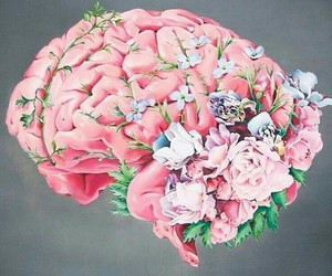art, brain, and flowers image