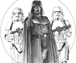 black and white, darth vader, and star wars image