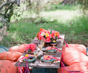 picnic, flowers, and pillow image