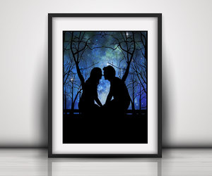 etsy, couple silhouette, and romantic wall art image