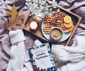 book, coffee, and fall image