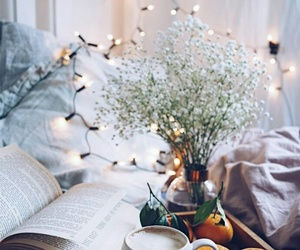 book, flower, and atmosphere image