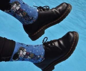 shoes, blue, and socks image