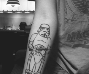 tattoo, star wars, and black and white image