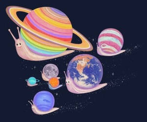 planet, snail, and earth image