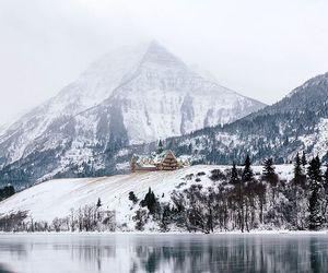 mountains, snow, and lake image